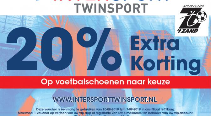 20% korting op voetbalschoenen bij Intersport/Twinsport Tilburg-City