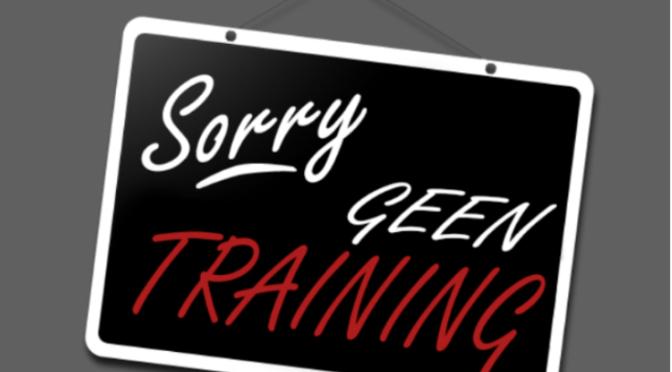 10 februari: alle trainingen afgelast